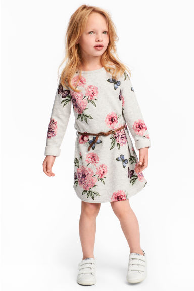 汗衫布料洋裝 - Light grey/Floral - Kids | H&M 1