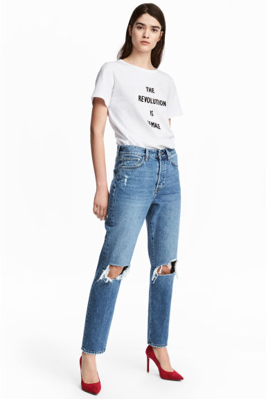 Vintage High Ankle Jeans - Denimblauw trashed - DAMES | H&M NL