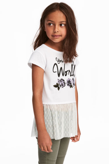 Top with tulle flounce - White - Kids | H&M CN