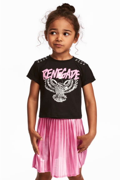 Printed jersey top - Black/Eagle - Kids | H&M