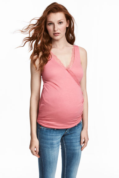 MAMA Nursing top with lace - Pink -  | H&M