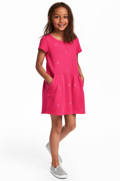 Sweatshirt dress - Cerise/Hearts - Kids | H&M CN