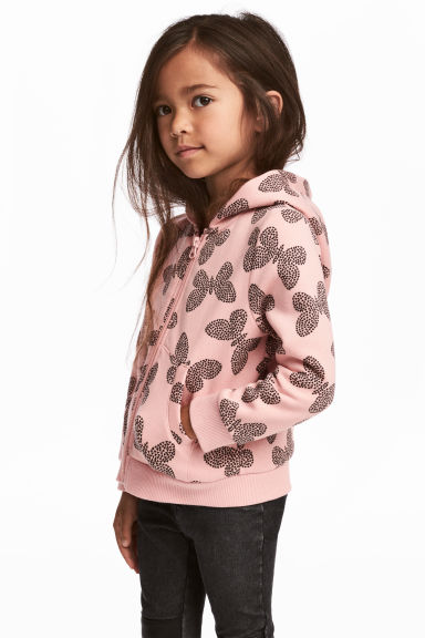 Hooded jacket - Light pink/Butterflies - Kids | H&M 1