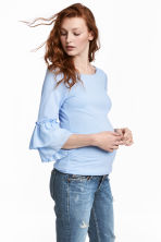 MAMA Jersey top with frills - Blue - Ladies | H&M 1