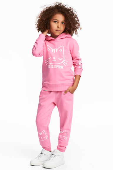 Sweatpants - Pink/Cats - Kids | H&M
