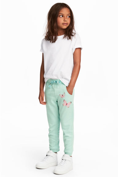 Sweatpants - Mint green/Butterflies - Kids | H&M GB