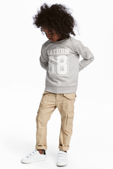 Cotton cargo pants - Beige - Kids | H&M CN