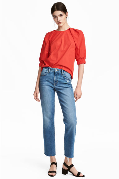 Straight High Ankle Jeans - 牛仔蓝 - 女士 | H&M CN 1