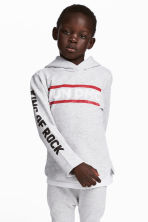 Printed hooded top - Light grey/RUN DMC -  | H&M CN 1