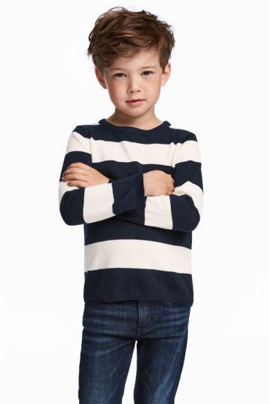 Fine-knit cotton jumper - Dark blue/White striped -  | H&M CN