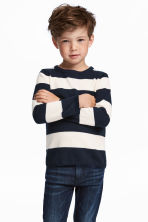 Fine-knit cotton jumper - Dark blue/White striped -  | H&M 1