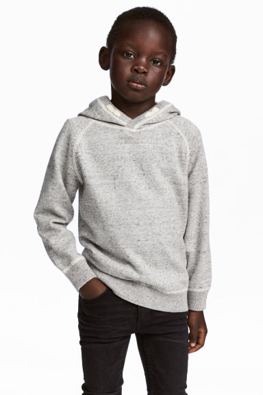 Knitted hooded jumper - Grey marl - Kids | H&M 1