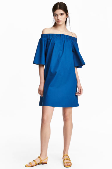 Off-the-shoulder dress - Dark blue - Ladies | H&M GB