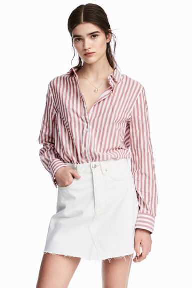 Cotton shirt - Red/Striped - Ladies | H&M CN