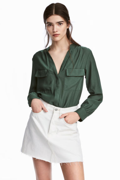 Crêpe blouse - Dark green - Ladies | H&M GB 1
