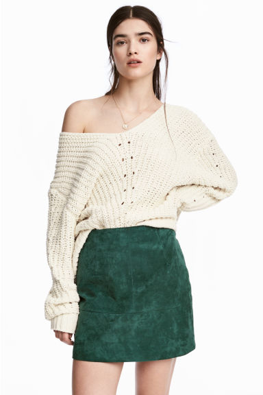 Short suede skirt - Dark green -  | H&M CA 1