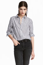 Cotton shirt - Dark grey/Striped - Ladies | H&M 1