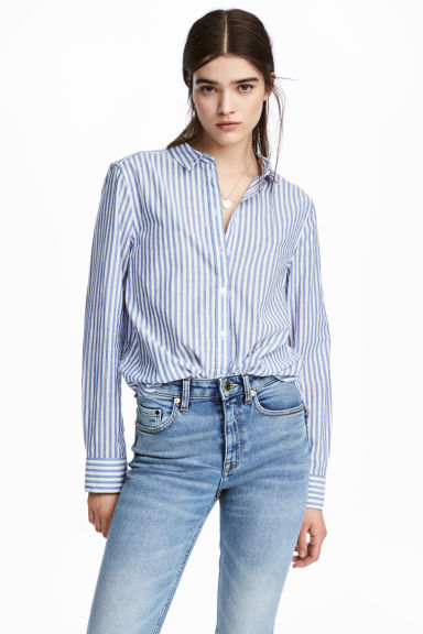 Cotton shirt - Blue/Striped - Ladies | H&M 1