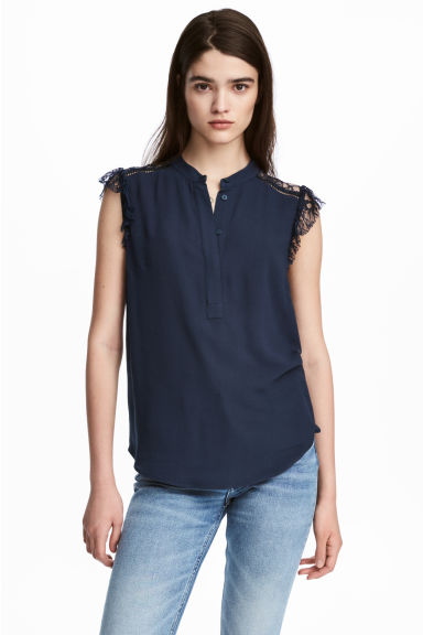 Crêpe blouse - Dark blue - Ladies | H&M 1