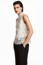 Sleeveless lace blouse - Light beige - Ladies | H&M 1