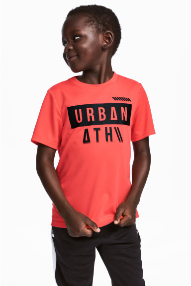Short-sleeved sports top - Coral red - Kids | H&M 1