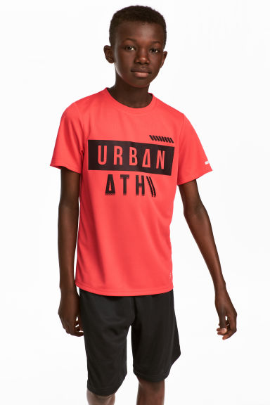 Short-sleeved sports top - Coral red -  | H&M 1