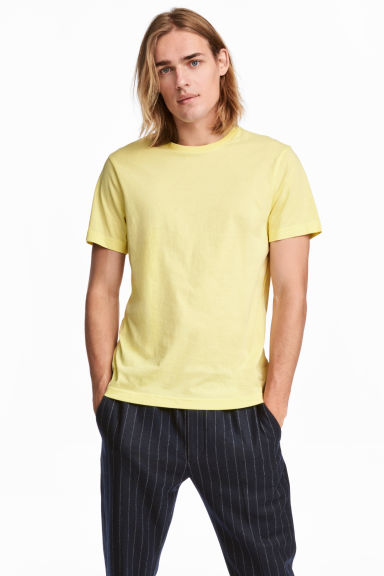 T-shirt en coton Regular fit - Jaune clair - HOMME | H&M FR 1