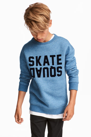 Sweatshirt with a text print - Blue marl - Kids | H&M 1