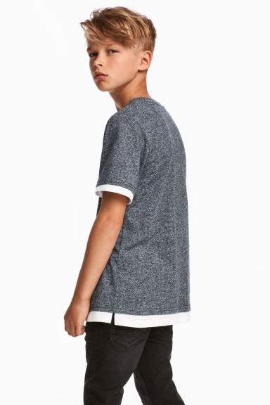 T-shirt with a chest pocket - Dark blue marl - Kids | H&M 1