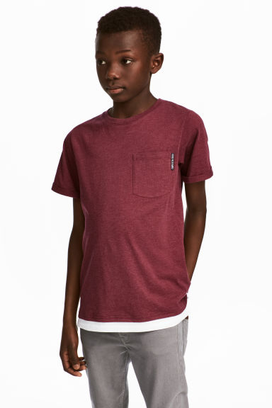 T-shirt with a chest pocket - Burgundy marl - Kids | H&M