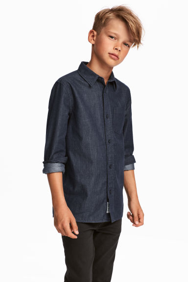 Cotton Shirt - Dark blue/chambray - Kids | H&M CA 1