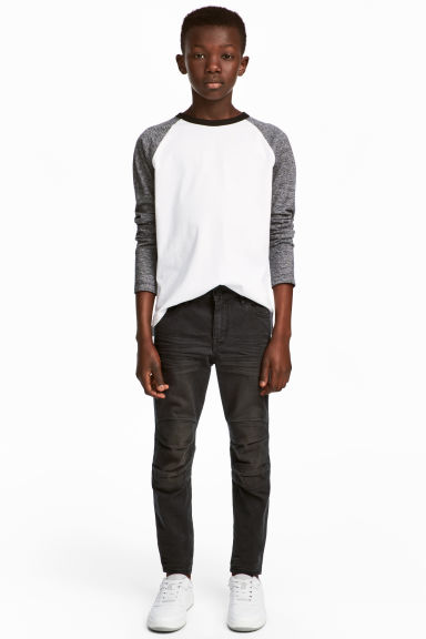 Knee-patch biker trousers - Nearly black - Kids | H&M