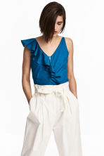 Short flounced top - Dark blue - Ladies | H&M CA 1