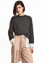 Fine-knit top - Dark grey marl - Ladies | H&M CN 1