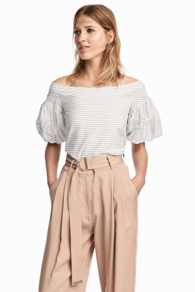 Off-the-shoulder blouse - White/Striped - Ladies | H&M CN 1