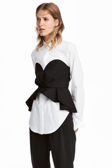 Cotton blouse with bustier - White/Black - Ladies | H&M CA 1