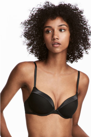 Super push-up microfibre bra - Black - Ladies | H&M 1