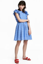Dress with broderie anglaise - Blue - Ladies | H&M GB 1