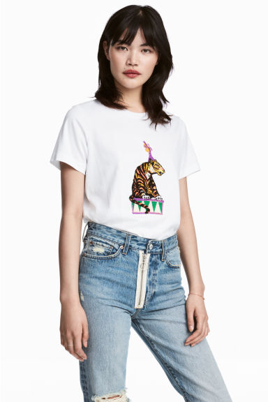 Pima cotton T-shirt - White/Tiger -  | H&M CN 1