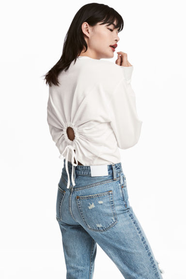 Sweatshirt with an opening - White - Ladies | H&M 1