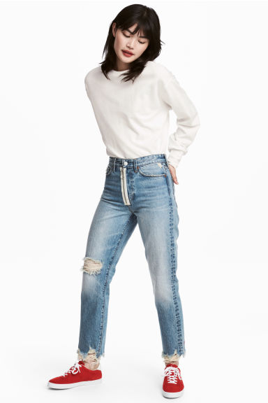 Loose fit Trashed Jeans - Light blue - Ladies | H&M 1