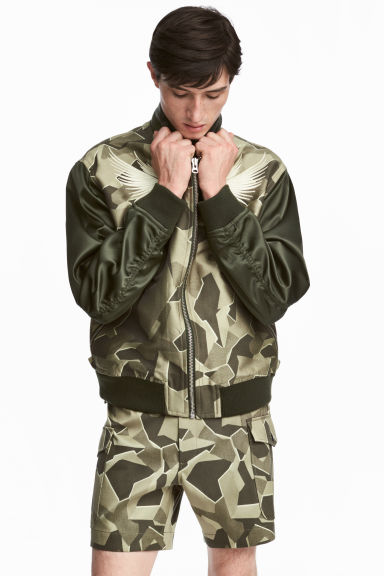 Jacquard-weave bomber jacket - Dark green/Patterned - Men | H&M 1