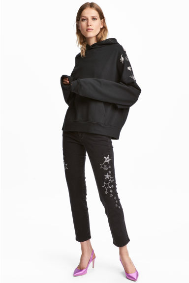 裝飾 Slim Regular Jeans - Nearly black/Stars - Ladies | H&M 1