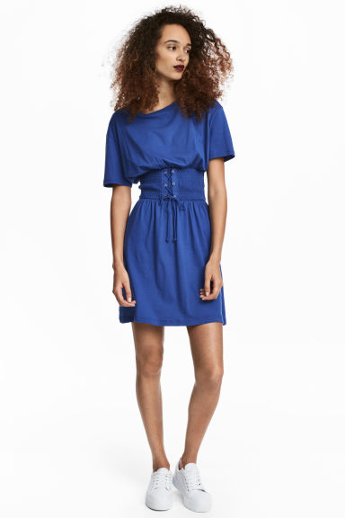 T-shirt dress with lacing - Bright blue - Ladies | H&M 1