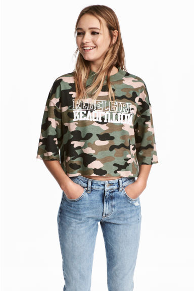 Cropped sweatshirt - Khaki green/Patterned - Ladies | H&M CN 1