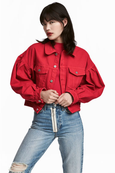 Short denim jacket - Red -  | H&M CN 1