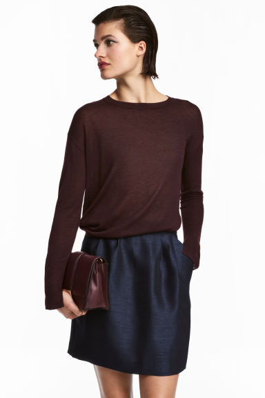 Textured skirt - Dark blue - Ladies | H&M CN 1