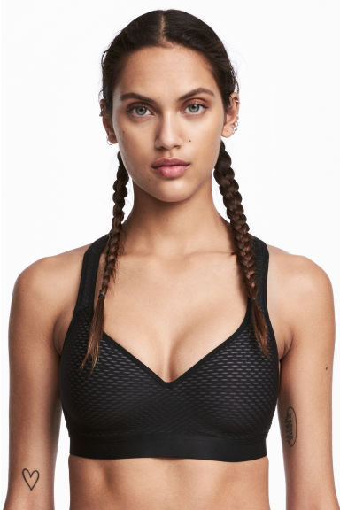 Sports bra Medium support - Black - Ladies | H&M 1