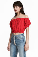 Kort off shoulder-topp - Röd - DAM | H&M FI 1