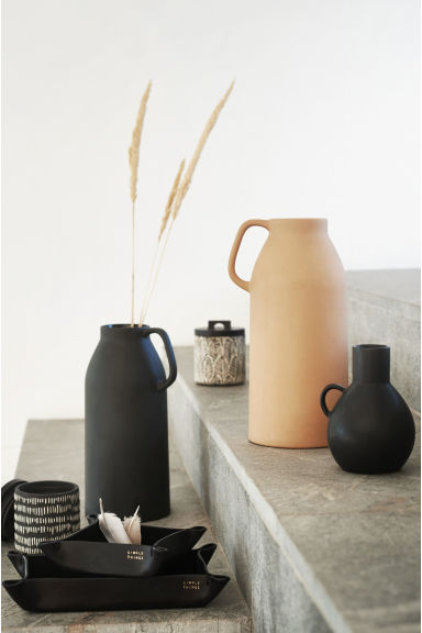 Tall stoneware vase - Black - Home All | H&M CA 1